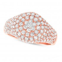 1.81ct 14k Rose Gold Diamond Pave Lady's Ring