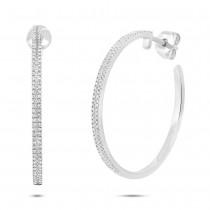 0.39ct 14k White Gold Diamond Hoop Earrings