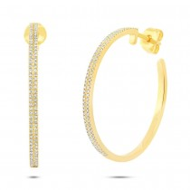 0.39ct 14k Yellow Gold Diamond Hoop Earrings