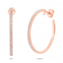 0.39ct 14k Rose Gold Diamond Hoop Earrings