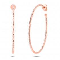 0.46ct 14k Rose Gold Diamond Oval Hoop Earrings