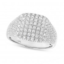 1.32ct 14k White Gold Diamond Pave Lady's Ring