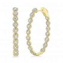2.05ct 14k Yellow Gold Diamond Oval Hoop Earrings