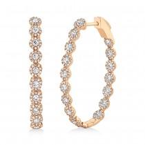 2.05ct 14k Rose Gold Diamond Oval Hoop Earrings