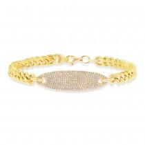 0.56ct 14k Yellow Gold Diamond Pave Chain Bracelet