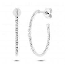0.26ct 14k White Gold Diamond Oval Hoop Earrings