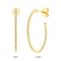 0.26ct 14k Yellow Gold Diamond Oval Hoop Earrings