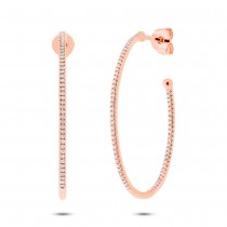 0.35ct 14k Rose Gold Diamond Oval Hoop Earrings