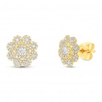 0.65ct 14k Yellow Gold Diamond Earrings