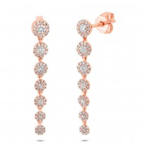 0.80ct 14k Rose Gold Diamond Earrings