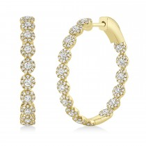 1.58ct 14k Yellow Gold Diamond Hoop Earrings