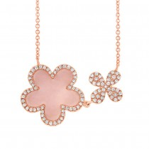 0.23ct Diamond & 0.90ct Pink Opal 14k Rose Gold Flower Necklace