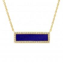 0.15ct Diamond & 0.67ct Lapis 14k Yellow Gold Bar Necklace