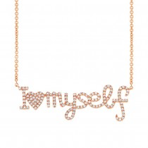 0.36ct 14k Rose Gold Diamond ''I love myself'' Necklace