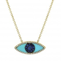 0.09ct Diamond & 0.65ct Blue Sapphire & Turquoise 14k Yellow Gold Eye Necklace
