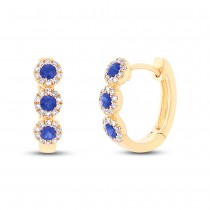 0.15ct Diamond & 0.30ct Blue Sapphire 14k Yellow Gold Huggie Earrings