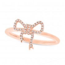 0.11ct 14k Rose Gold Diamond Bow Lady's Ring