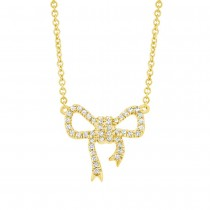 0.11ct 14k Yellow Gold Diamond Bow Necklace