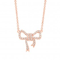 0.11ct 14k Rose Gold Diamond Bow Necklace