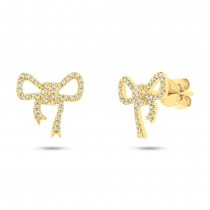 0.22ct 14k Yellow Gold Diamond Bow Stud Earrings