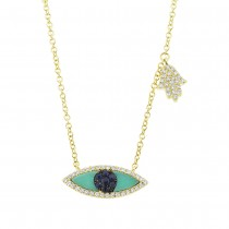 0.13ct Diamond, 0.38ct Blue Sapphire & Composite Turquoise 14k Yellow Gold Eye & Hamsa Necklace