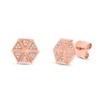 0.08ct 14k Rose Gold Diamond Hexagon Stud Earrings