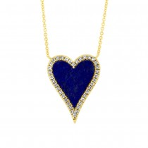 0.09ct Diamond & 0.84ct Lapis 14k Yellow Gold Heart Necklace