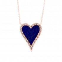 0.09ct Diamond & 0.84ct Lapis 14k Rose Gold Heart Necklace