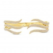 2.39ct 14k Yellow Gold Diamond Pave Bangle