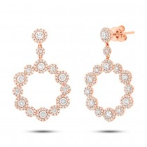 2.07ct 14k Rose Gold Diamond Earrings