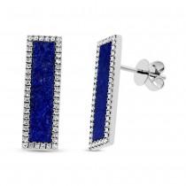 0.30ct Diamond & 2.25ct Lapis 14k White Gold Bar Stud Earrings