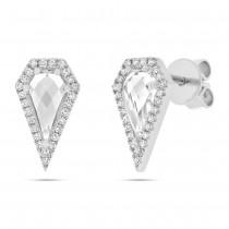0.12ct Diamond & 1.20ct White Topaz 14k White Gold Earrings