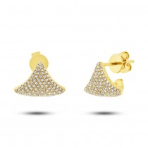 0.49ct 14k Yellow Gold Diamond Pave Earrings