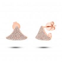 0.49ct 14k Rose Gold Diamond Pave Earrings