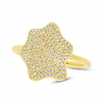0.37ct 14k Yellow Gold Diamond Pave Lady's Ring