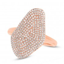 0.63ct 14k Rose Gold Diamond Pave Lady's Ring