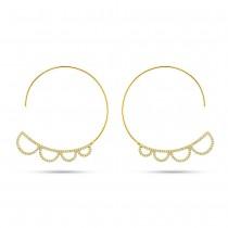 0.35ct 14k Yellow Gold Diamond Hoop Earrings