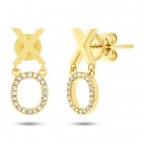 0.11ct 14k Yellow Gold Diamond ''xo'' Earrings