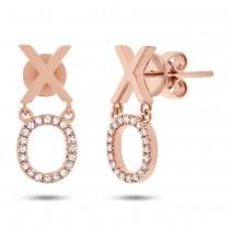 0.11ct 14k Rose Gold Diamond ''xo'' Earrings
