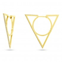 0.21ct 14k Yellow Gold Diamond Triangle Earrings