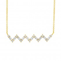 0.38ct 14k Yellow Gold Diamond Baguette Necklace