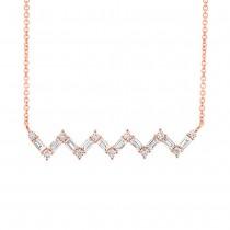 0.38ct 14k Rose Gold Diamond Baguette Necklace