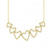 0.33ct 14k Yellow Gold Diamond Hearts Pendant Necklace