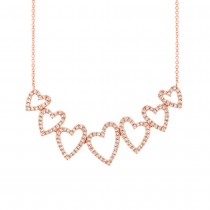 0.33ct 14k Rose Gold Diamond Hearts Pendant Necklace