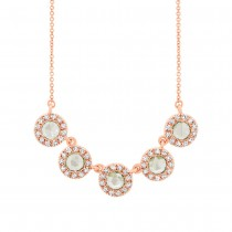 0.36ct 14k Rose Gold Diamond Rose Cut Necklace