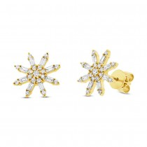 0.64ct 14k Yellow Gold Diamond Baguette Earrings