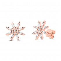 0.64ct 14k Rose Gold Diamond Baguette Earrings