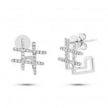 0.17ct 14k White Gold Diamond Hashtag Earrings
