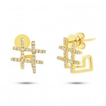 0.17ct 14k Yellow Gold Diamond Hashtag Earrings