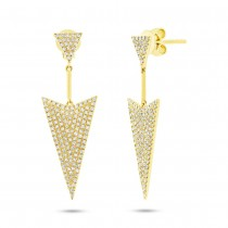 0.60ct 14k Yellow Gold Diamond Pave Earrings